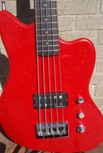 Red Sparkle 5-String Offset Bass