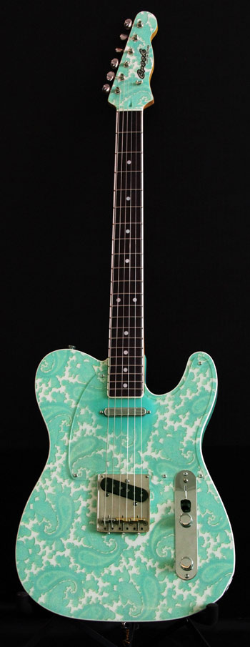 Surf Green and White Sparkle Paisley