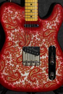 Red and White Sparkle Paisley Closeup Crook Custom Guitars