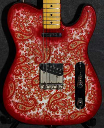 Red and White Sparkle Paisley Crook Custom Guitars
