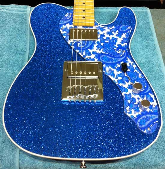 Blue Sparkle T-Style with Paisley Pickguard Crook Custom Guitars