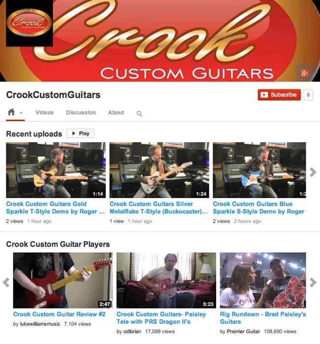 Crook Custom Guitars Videos Demo YouTube Channel