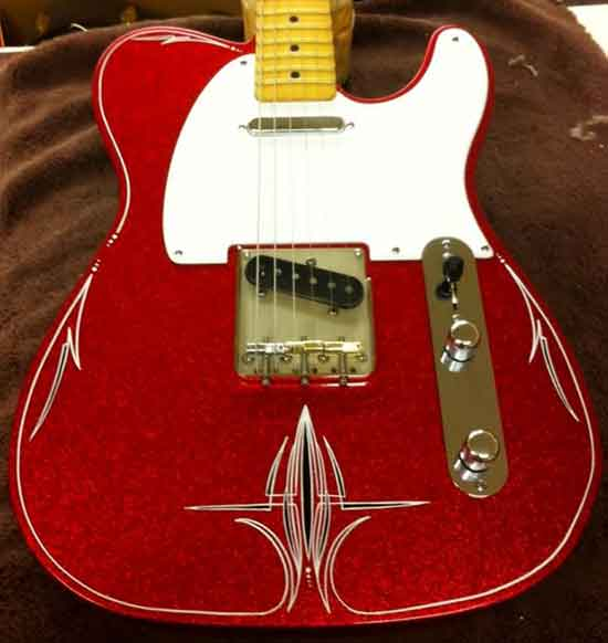 Crook Guitars Red Metalflake T-style pinstripe guitar