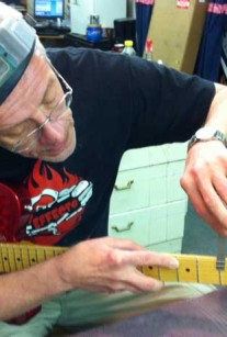 Bill Crook in the shop. Crook Custom Electric Guitars Builder