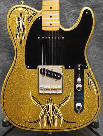 Crook Guitars Gold Sparkle T-Style Pinstripe Guitar