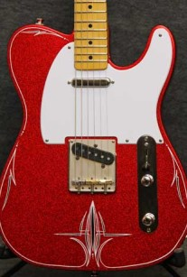 Red Sparkle Pinstripe Guitar Crook Custom Guitars