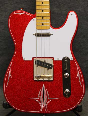Crook Guitars Red Sparkle T-Style Pinstriped Guitar