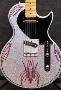 Pinstripe Silver Sparkle Lesquire Guitar Crook Custom Guitars