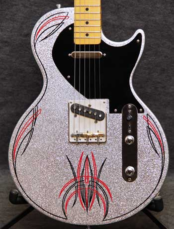 Crook Guitars Silver Metalflake Lesquire Pinstripe Guitar